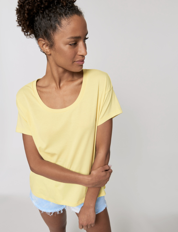 Soft yellow loose tee for her