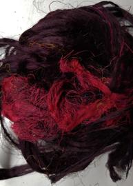 Gerecyclede sari zijdevezels zwart rood B, 14 g