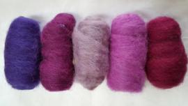 Gekaarde wol assorti paars/roze/lila kleuren (nr 28)