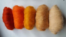Gekaarde wol assorti oranjetinten (nr 327)