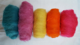 Gekaarde wol assorti neon kleuren (nr 40)