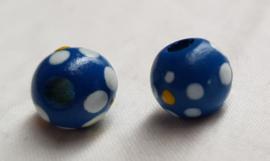 Houten kralen 10 mm, blauw, groot gat, vanaf