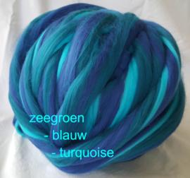 Dik lontwol gemeleerd, zeegrn- blw- turq. (157) , vanaf