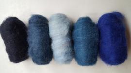 Gekaarde wol assorti blauwe kleuren (nr 57)