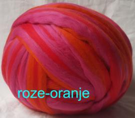 Dik lontwol gemeleerd, roze-oranje, vanaf 1 meter