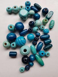 Houten kralen, blauw , diverse maten en vormen, 46 stuks (KBD)