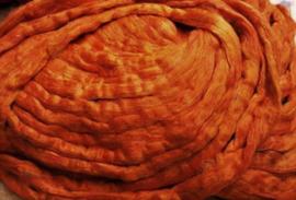 ZIJDELONT, ORANJE, gerecyclede sarizijde, gekaard, vanaf 10 gram