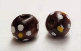 Houten kralen 10 mm, bruin, groot gat, vanaf