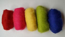 Gekaarde wol assorti diepe kleuren (nr 175)