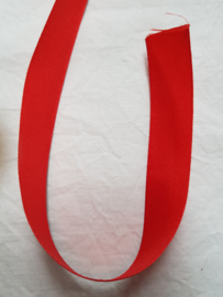 Satijnlint rood 40 mm breed, draadrand, per 2 meter