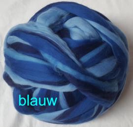 Dik lontwol gemeleerd, blauw, vanaf 1 meter