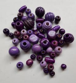 Houten kralen, paars , diverse maten en vormen, 53 stuks (PPK)
