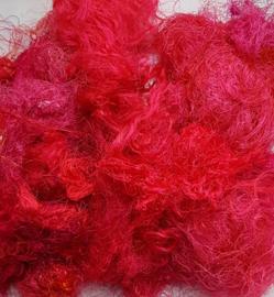 Gerecyclede sari zijdevezels, flamingo, vanaf