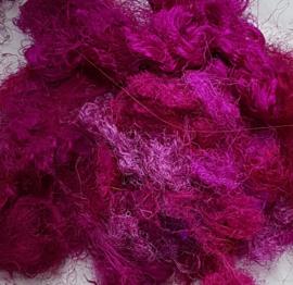 Gerecyclede sari zijdevezels, donkerroze, vanaf