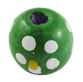 Houten kralen 10 mm, groen, groot gat, vanaf