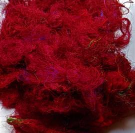 Gerecyclede sari zijdevezels, donkerrood, vanaf