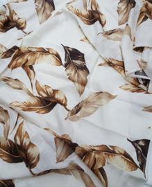 Creme wit linnen met bruin blad motief 150x210cm