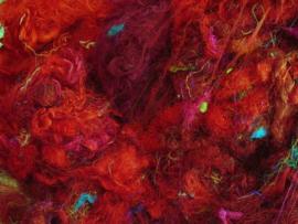 Gerecyclede sari zijdevezels, rood, vanaf