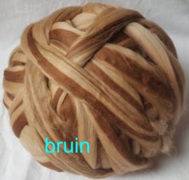 Dik lontwol gemeleerd, bruin, vanaf 1 meter