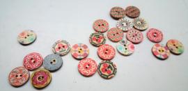 Houten knopen, assorti, boho motief, 20 mm, 22 stuks