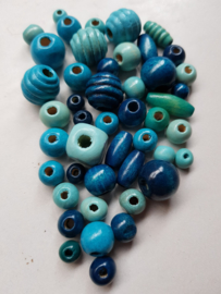 Houten kralen, blauw , diverse maten en vormen, 46 stuks (BLK)