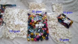 Zijdecocons wit, vanaf 15 gram