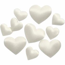 Satijnen hartjes, off white en rood