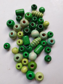 Houten kralen, groen , diverse maten en vormen, 41 stuks (GKK)