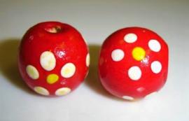 Houten kralen 10 mm, rood, groot gat, vanaf