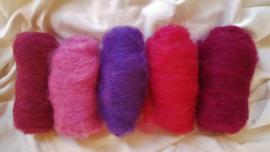 Gekaarde wol assorti  paars en roze tinten (nr4)