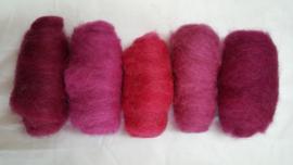 Gekaarde wol assorti roze tinten (nr 26)