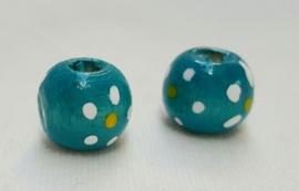 Houten kralen 10 mm, turquoise, groot gat, vanaf