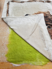 Nuno vilten (wol op stof); varenblad op ongebleekte katoen