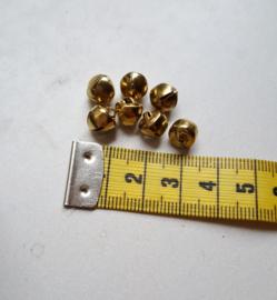 Metalen belletjes, goudkleurig, 7x9 mm, 7 stuks