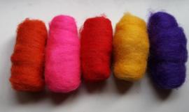 Gekaarde wol assorti vrolijke zomerkleuren (nr 130)