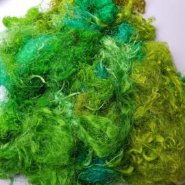 Gerecyclede sari zijdevezels, lichtgroen, vanaf