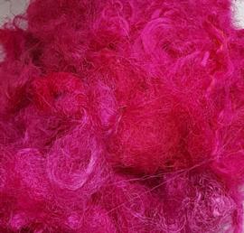 Gerecyclede sari zijdevezels, lichtroze, vanaf