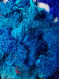 Gerecyclede sari zijdevezels, lichtblauw, vanaf
