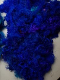 Gerecyclede sari zijdevezels, blauw, vanaf