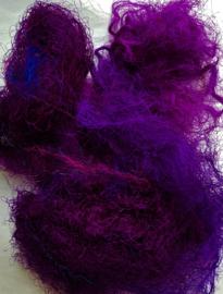 Gerecyclede sari zijdevezels, paars, vanaf