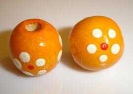Houten kralen 10 mm, oranje, groot gat, vanaf