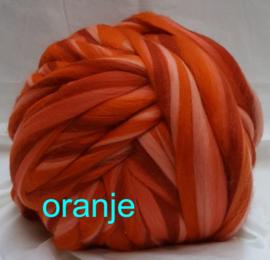 Dik lontwol gemeleerd, oranje, vanaf 1 meter