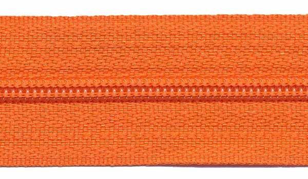 Ritsen van de rol maat 3, spiraalrits, oranje
