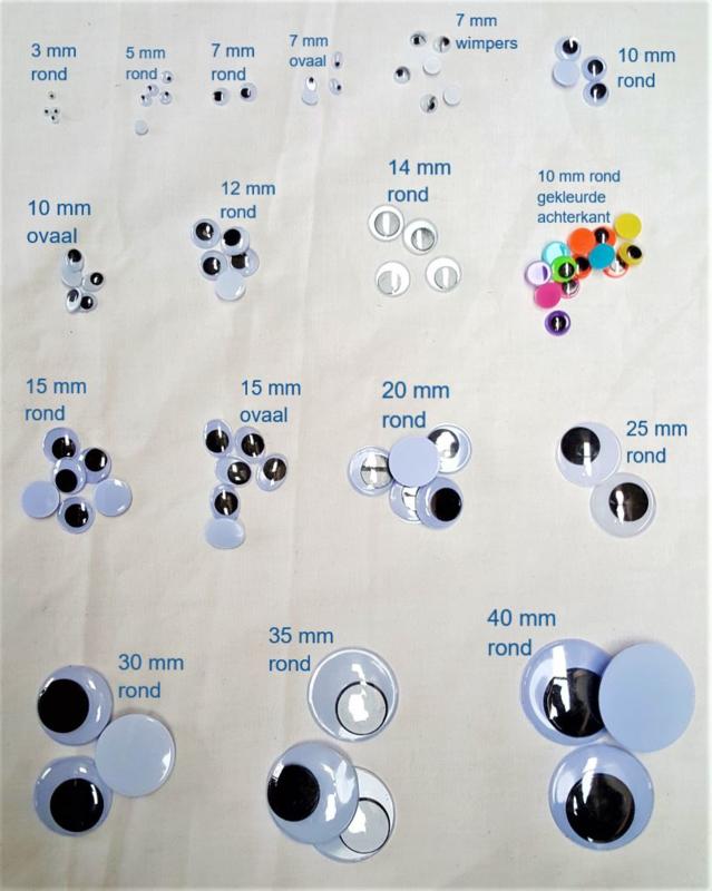 Opplakbare wiebeloogjes 15 mm