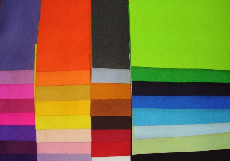 Assortiment viltlapjes, 32 kleuren.