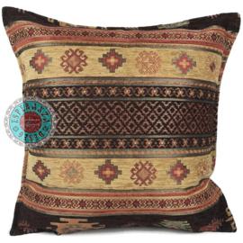 Aztec oker en bruin kussen ± 45x45cm