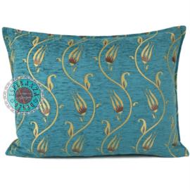 Flower string turquoise en geel kussen ± 50x70cm