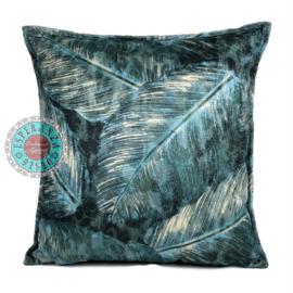 Turquoise kussenhoes met mooie veren/bladeren print ± 45x45cm