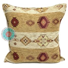 Oker geel en creme kussenhoes - Aztec stripes ± 45x45cm