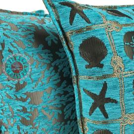 Turquoise kussenhoes - beach ± 45x45cm